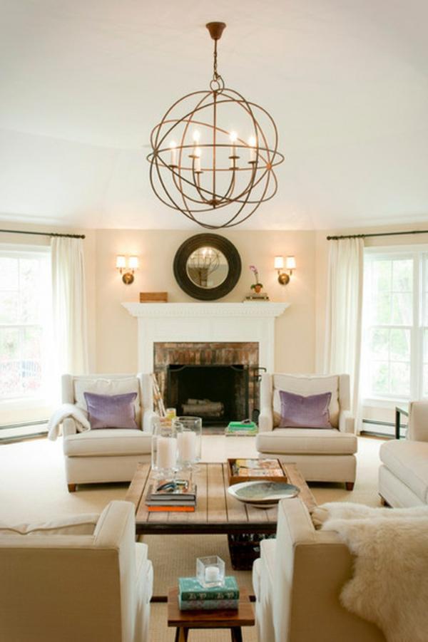 Wohnideen für Zimmergestaltung feuerstelle kissen spiegel