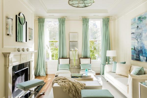 Wohnideen für Zimmergestaltung minzgrün gardinen kissen