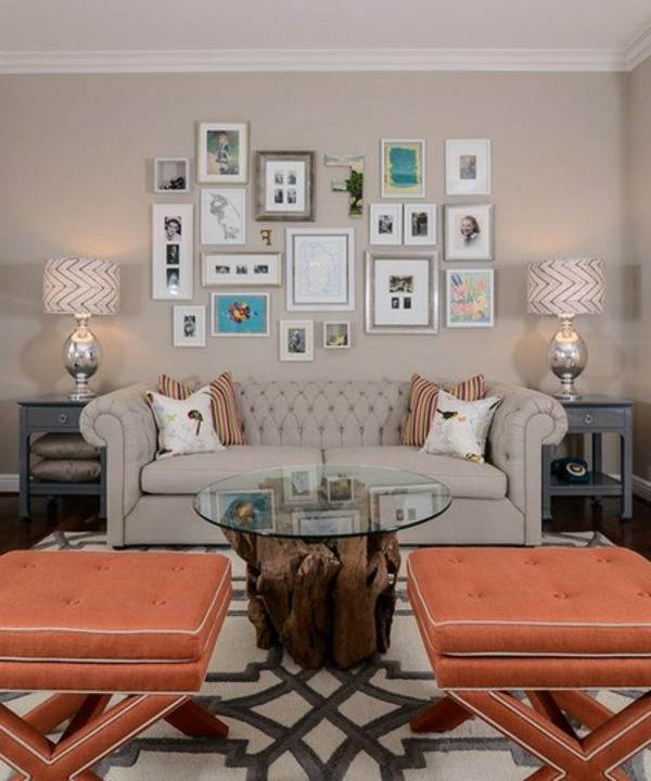 Wohnideen für Zimmergestaltung orange hocker tischplatte