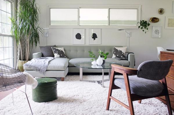 Wohnideen für Zimmergestaltung tischplatte glas wohnzimmer