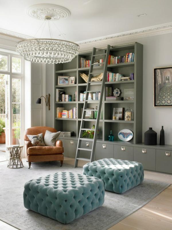Wohnideen für Zimmergestaltung wohnzimmer leiter bibliothek
