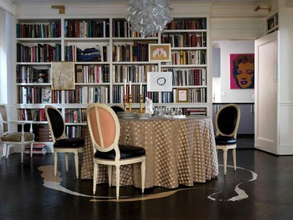 art interior design ideen bücherregal esstisch