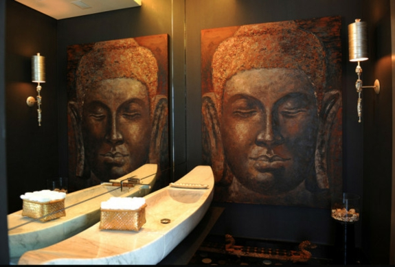 asiatischer stil Feng Shui Einrichtung badezimmer buddha wanddeko