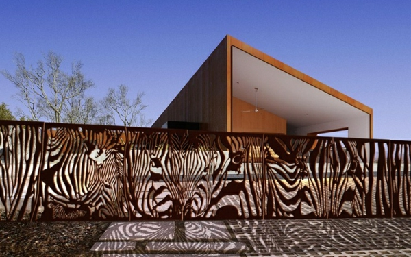 außen architektur ideen garten zaun metall figuren