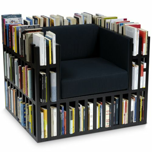 bücherregal sessel design ideen