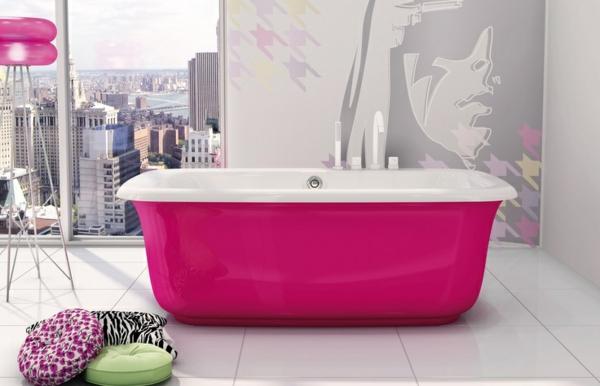 bad farbgestaltung freistehende badewanne in pink pop art ideen fototapete