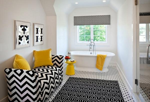 badeinrichtung badmöbel schwarz weiß chevron muster wanddeko fensterdeko