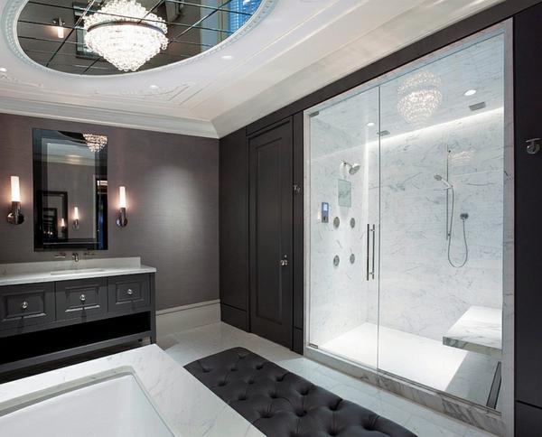 badeinrichtung badmöbel schwarz weiß marmor dusche glasscheibe