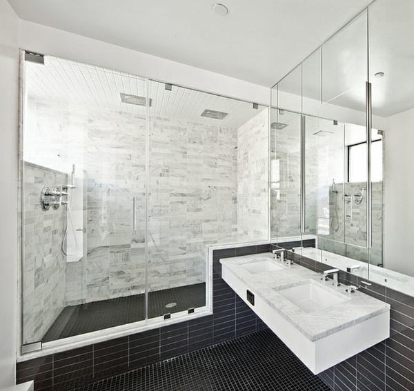 badeinrichtung badmöbel schwarz weiß wandspiegel übergross
