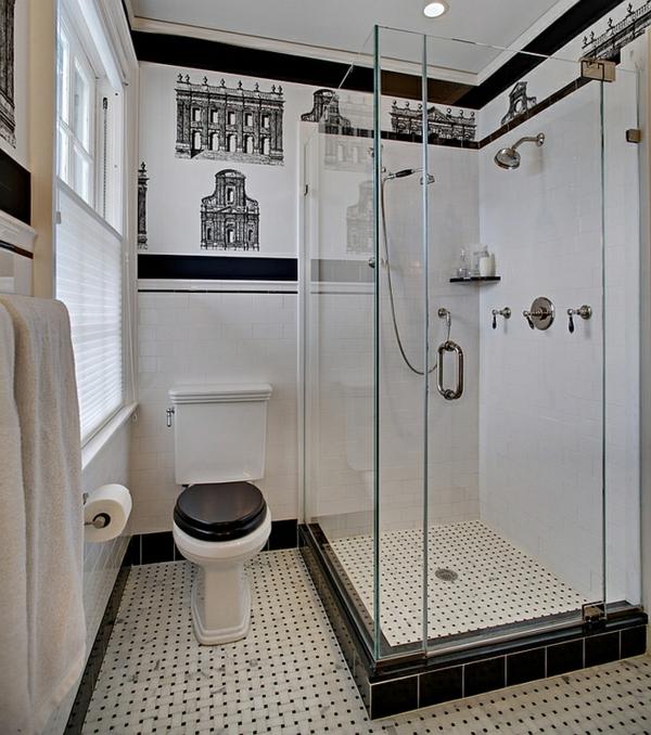 badezimmer einrichten bodenfliesen schwarz weiß duschkabine glasscheiben wandtattoo