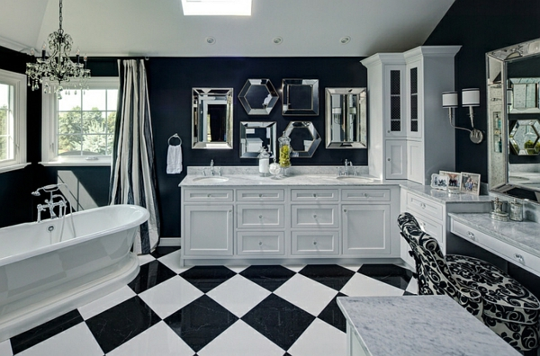 badezimmer einrichten bodenfliesen schwarz weiß schachbrett muster