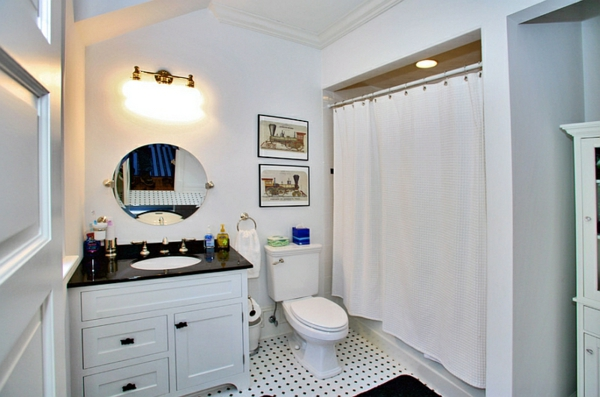 badezimmer gardinen ideen duschvorhang bodenfliesen pünktchenmuster