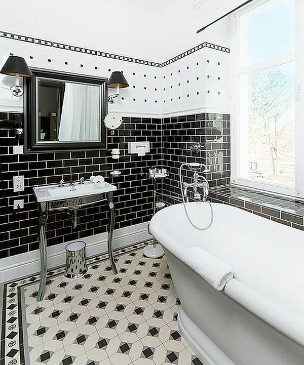 badezimmer ideen farbgestaltung schwarz weiß bodenfliesen wandfliesen muster