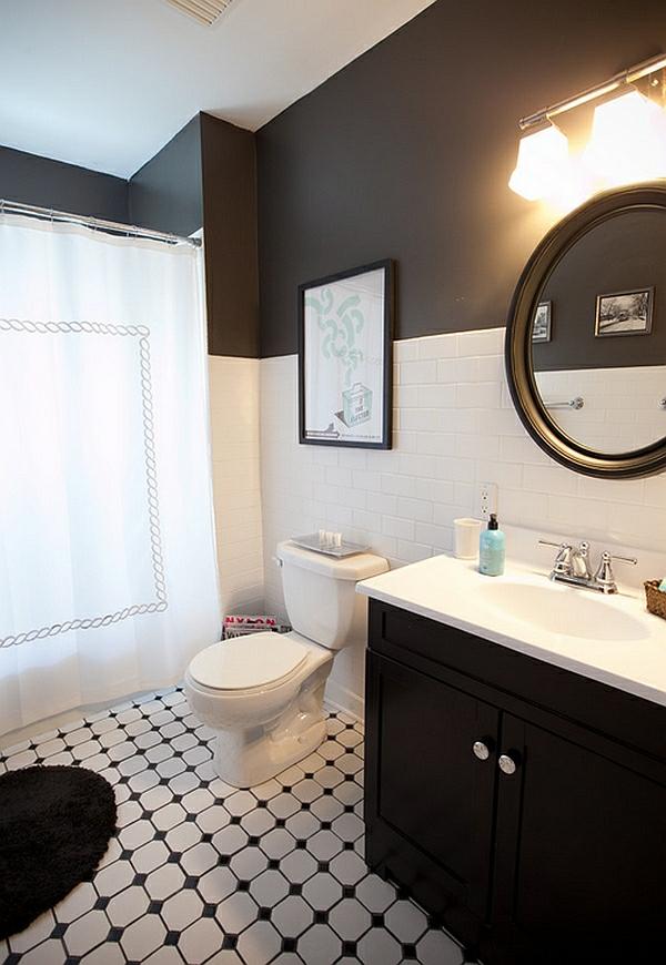 badezimmer ideen farbgestaltung schwarz weiß wandfarbe wandfliesen