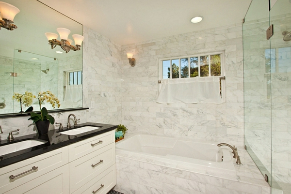 badezimmer ideen farbgestaltung schwarz weiß wandfliesen spiegelwände