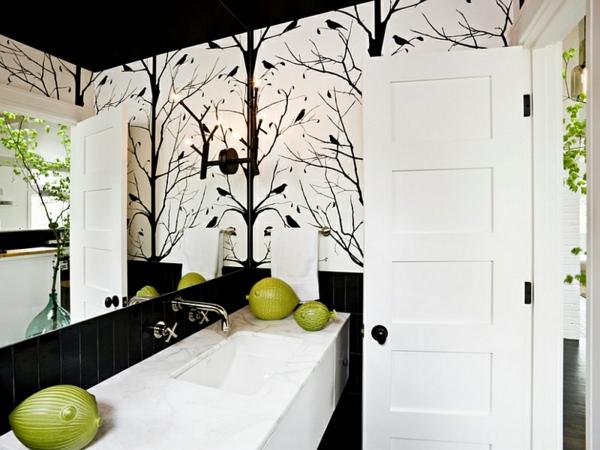 badezimmer ideen farbgestaltung schwarz weiß wandtapeten wandfliesen