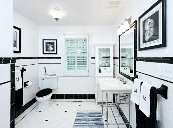 badezimmer ideen farbgestaltung schwarz weiß