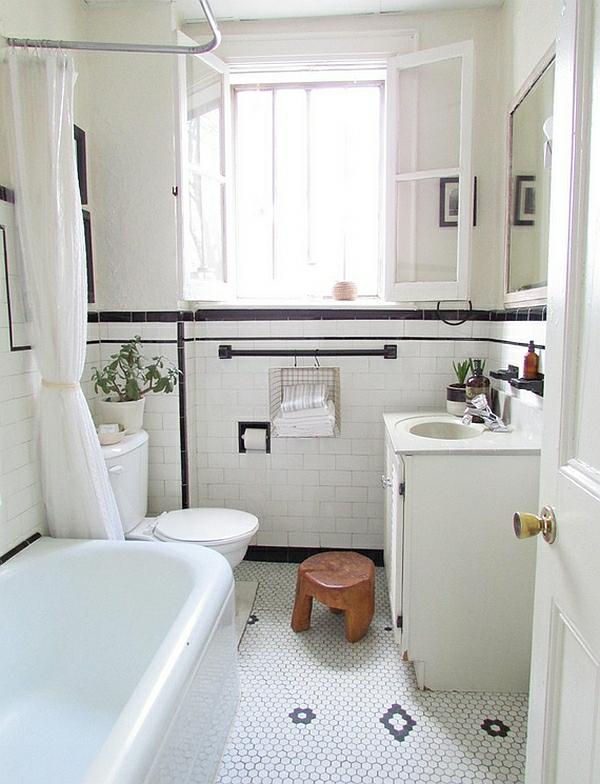 badezimmer ideen farbgestaltung weiß bodenfliesen wandfliesen muster schwarze akzente