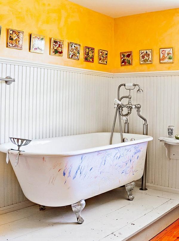 badezimmer ideen stil familienhaus gelbe wandgestaltung wandart