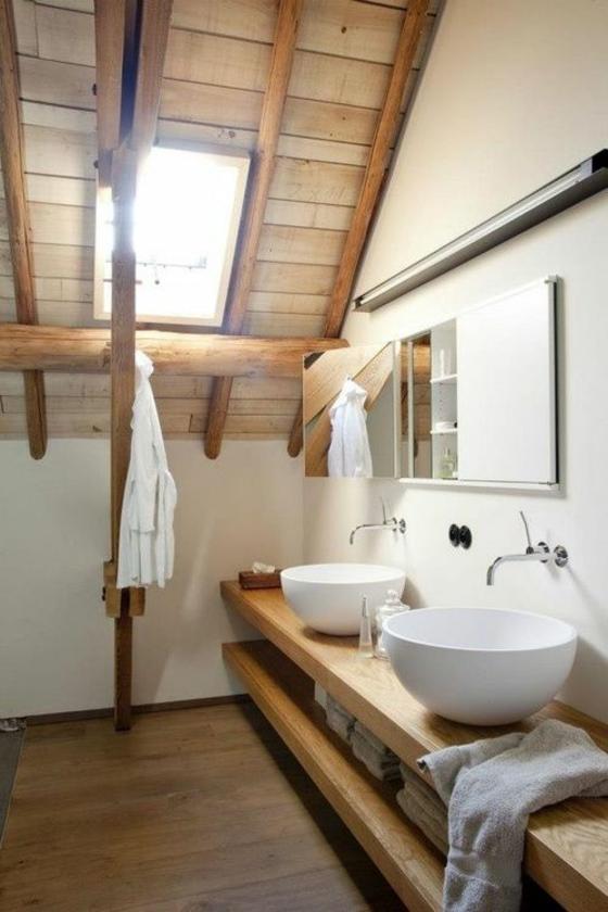 badezimmer im rustikalen stil einrichten holz wandregale als unterschränke