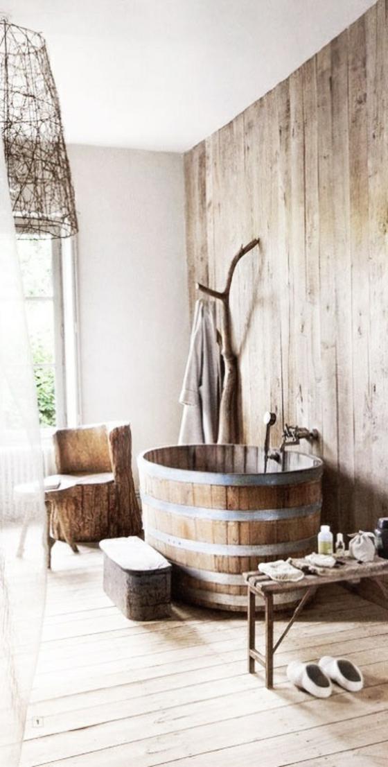 badezimmer möbel im landhausstil badewanne holzfass rustikal