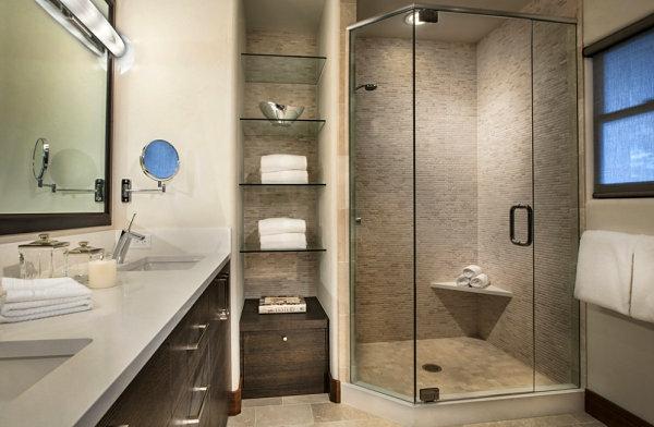 badezimmer stilvoll glasregal waschbecken