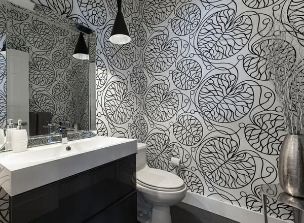 badezimmer wandgestaltung ideen wandtapeten gemustert schwarz weiß