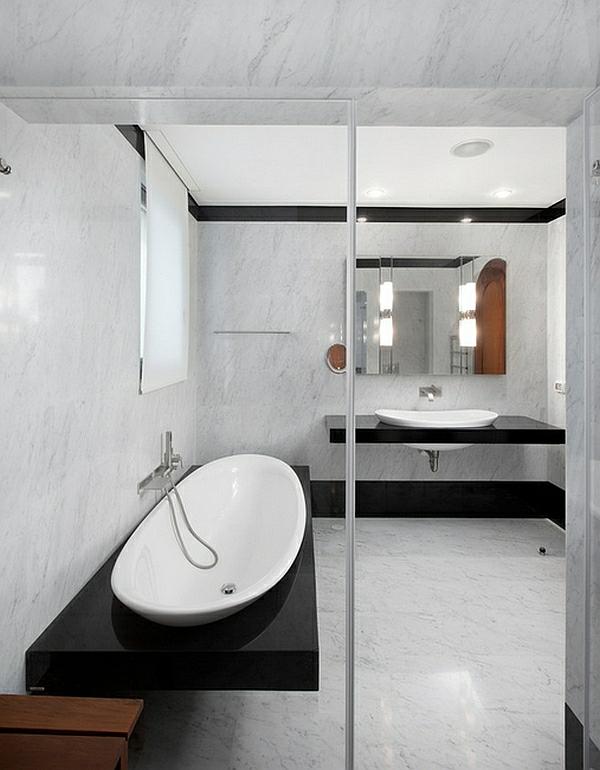 badezimmer waschbecken minimalistisch weiß schwarz