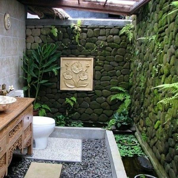 badezimmergestaltung im freien möbel steine