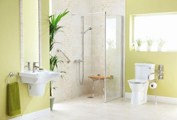 barrierfreie dusche behindertengerechte dusche einbauen wandfarbe grün