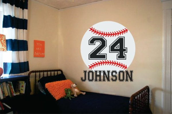 baseball name als wand dekoration jungenzimmer