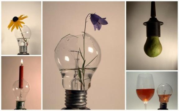 bastelideen für erwachsene alte glühbirne vase