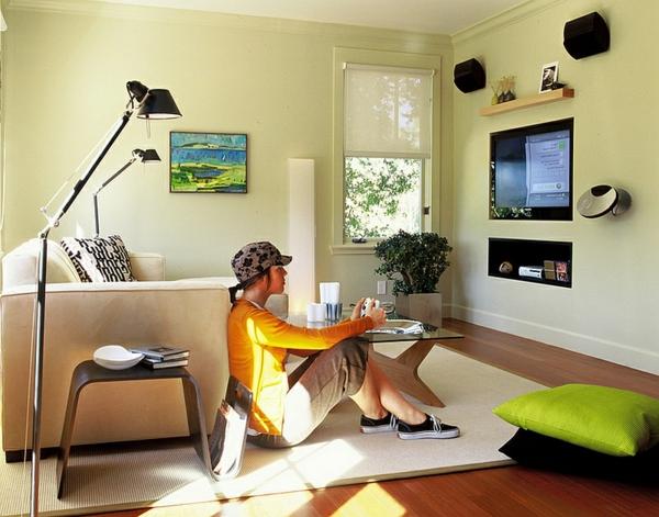 moderne Beistelltische wohnzimmer wohnwand bodenkissen