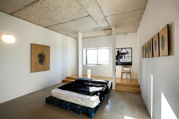 beton zimmerdecke bett zimmer kunst