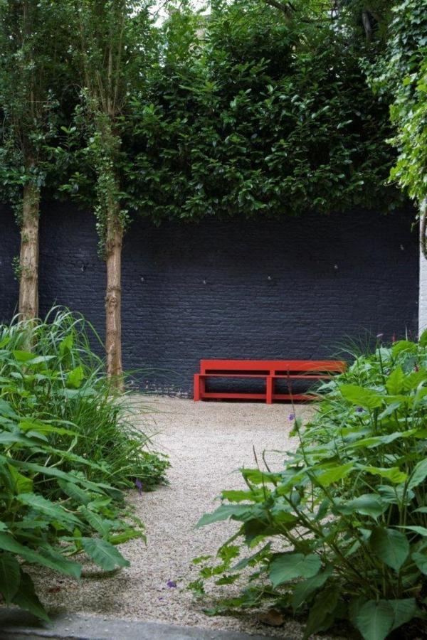 bilder vorgarten rot gartenbank kies gestalten oase angenehm fußweg