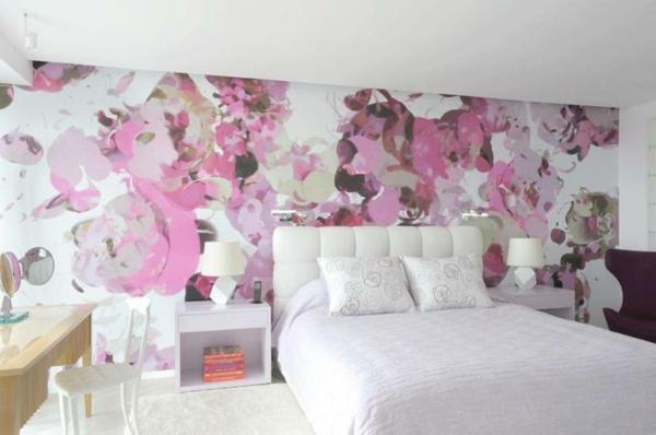 blumenmuster schlafzimmer wandgestaltung kopfteil rosa