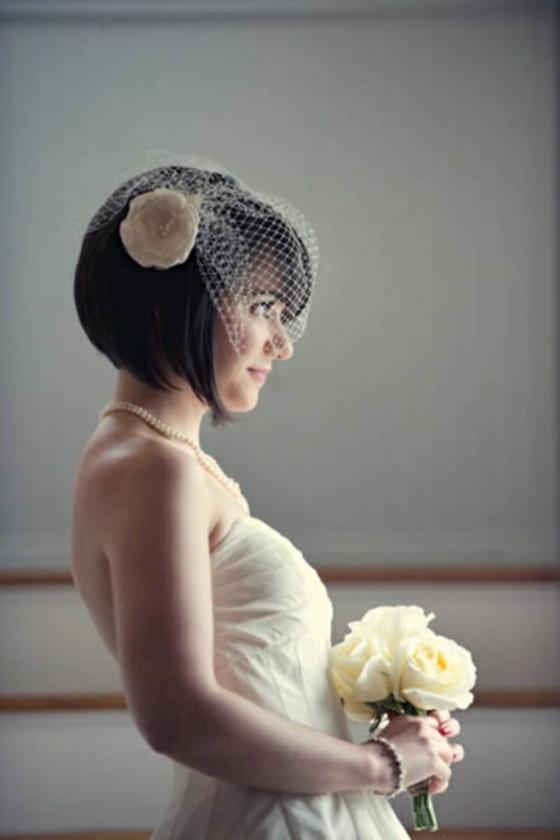 brautfrisuren für kurze haare mit schleier kunstblume bob frisur