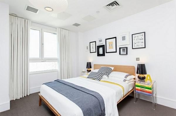 bunte dekoideen schlafzimmer design wandart
