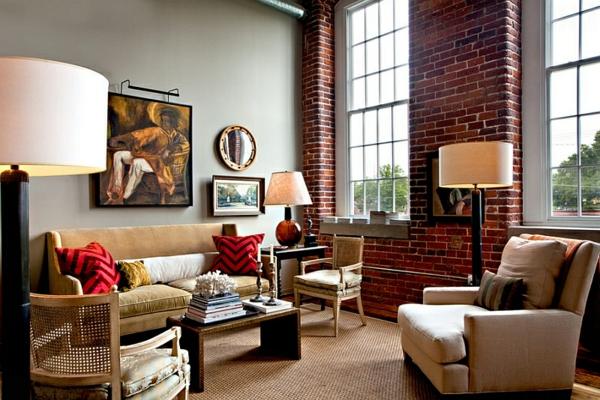 Chevron Muster Wohnzimmer Design Ideen Dekokissen Rot