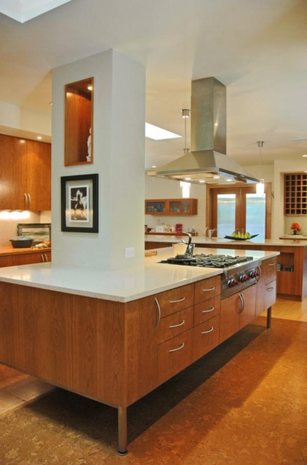 contemporary küche mit kochinsel holz glanzvoll oberflächen