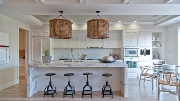 Contemporary Moderne Weiße Küchen Kücheneinrichtung Marmor Küchenhocker