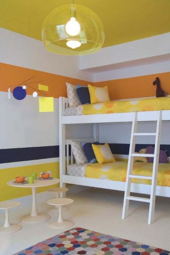 coole wohnideen kinderzimmer wandgestaltung streifenmuster farbenfroh wandfarbe
