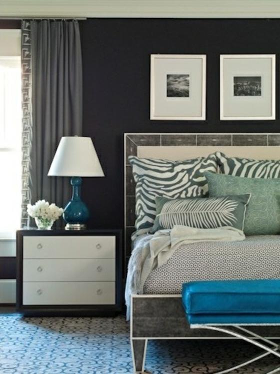 coole wohnideen schlafzimmer zebra muster dekokissen bettwäsche