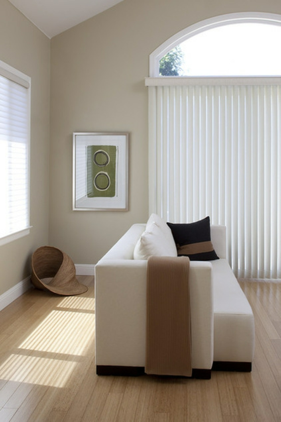 coole wohnideen wohnzimmer gardinenideen lamellvorhang holzboden verlegen