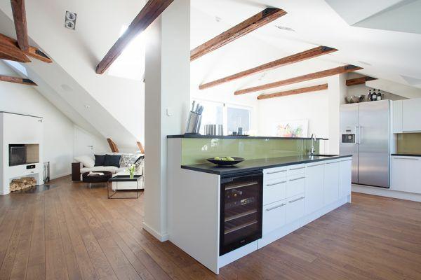 dachapartment einrichten küche und wohnzimmer