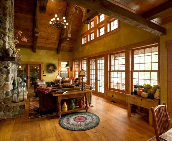 dachwohnung design ideen holz und stein großartige wandfarben
