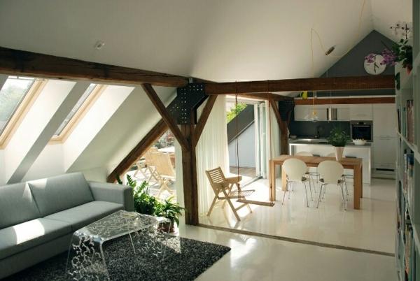 dachwohnung einrichten küchennische esstisch sofa dekorativer