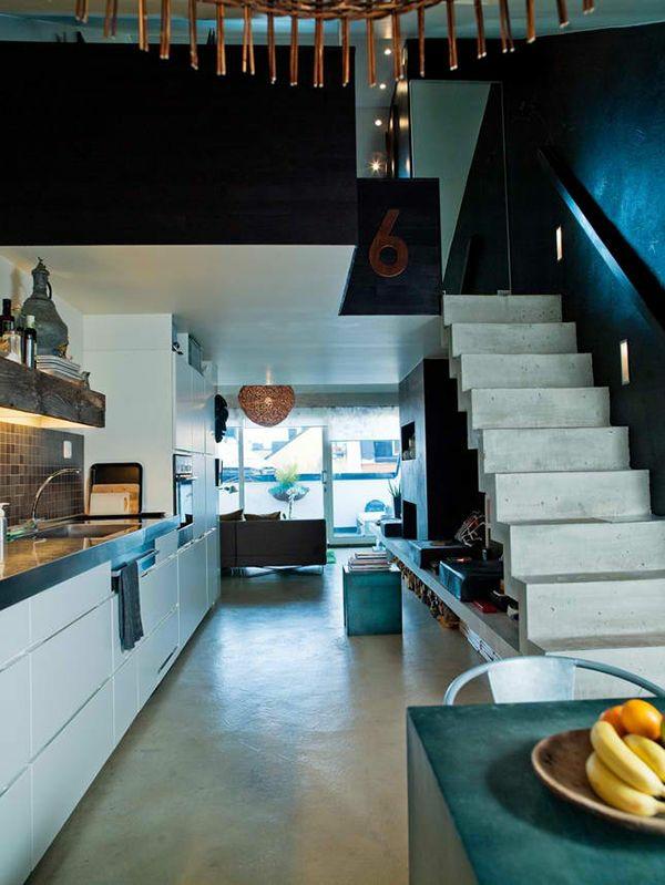 dachwohnung einrichten weiße küche versteckte beleuchtung
