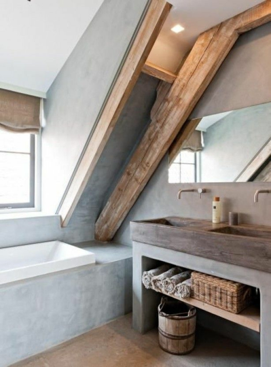 dachzimmer bad holzbalke rustikal waschbecken holzeimer