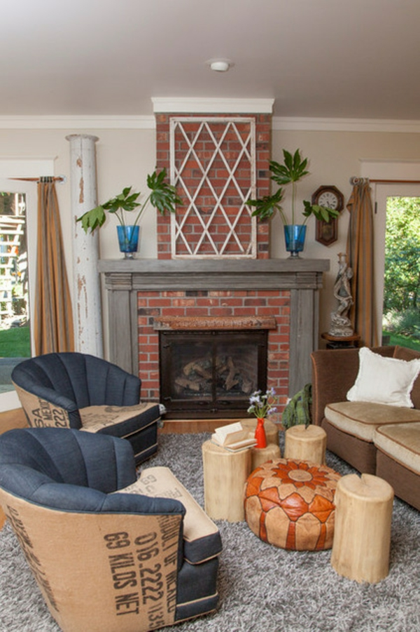 deko ideen wohnzimmer möbel einrichtungsideen kaminsofa sessel
